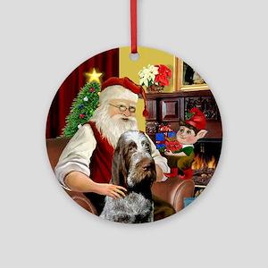 Santa's Roan Italian Spinone Ornament (Round)