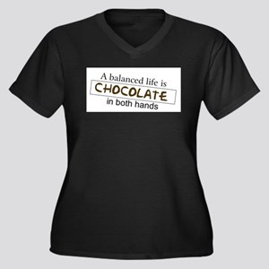 Chocolate in both hands Women's Plus Size V-Neck D