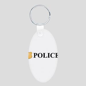 Police B Aluminum Oval Keychain