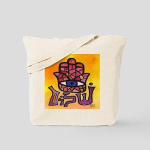 Purple Shalom Hamsa Tote Bag