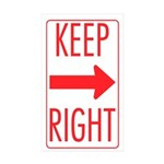 Keep Right Sticker Sticker (Rectangle 50 pk)