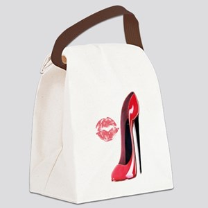 red stiletto and kiss Canvas Lunch Bag