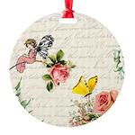 Vintage fairy garden Round Ornament