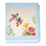 Vintage fairy garden baby blanket
