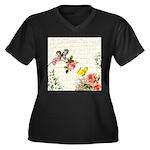 Vintage fairy garden Women's Plus Size V-Neck Dark