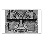 Folk Art Mask in BW Sticker (Rectangle 50 pk)