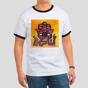 Purple Shalom Hamsa Ringer T
