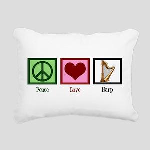 Peace Love Harp Rectangular Canvas Pillow