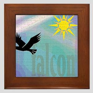 falcon against bright sun Framed Tile
