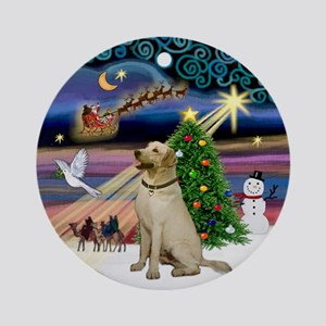 Xmas Magic & Yellow Lab Ornament (Round)