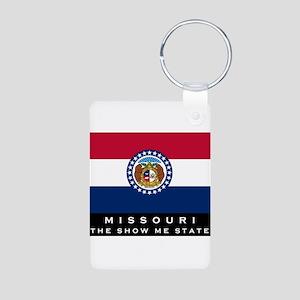 Missouri State Flag Aluminum Photo Keychain