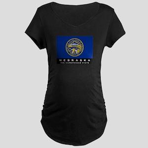 Nebraska State Flag Maternity Dark T-Shirt