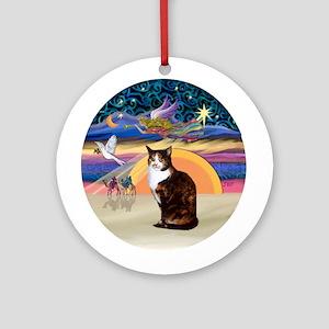 Christmas Angel-Calico Cat Ornament (Round)