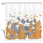 Blue orange burst Shower Curtain