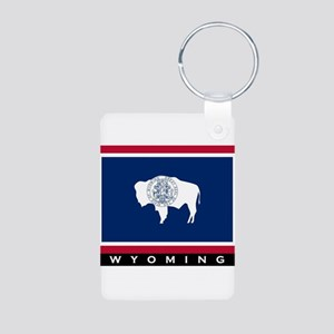 Wyoming State Flag Aluminum Photo Keychain
