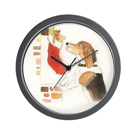 Christmas Beagle Original Painting Wall Clock