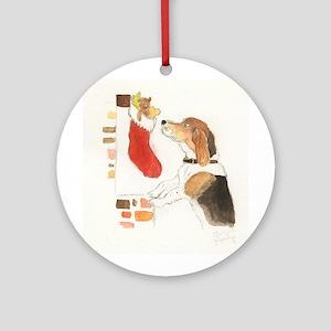 Christmas Beagle Original Painting Ornament (Round