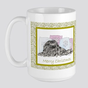 Christmas Shih Tzu Black Large Mug