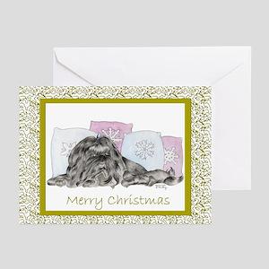 Christmas Shih Tzu Black Greeting Cards (Package o