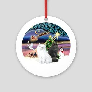 XmasMagic-Two Persian cats Ornament (Round)