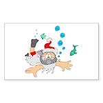 Scuba Diving Santa Sticker (Rectangle 50 pk)