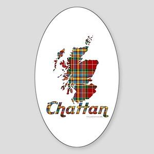 Scotland Map w/Chattan Tartan Sticker (Oval)