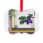 Vintage Plum Fruit Collage Picture Ornament
