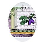 Vintage Plum Fruit Collage Ornament (Oval)
