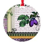 Vintage Plum Fruit Collage Round Ornament