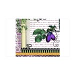 Vintage Plum Fruit Collage 35x21 Wall Decal