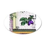 Vintage Plum Fruit Collage 35x21 Oval Wall Decal
