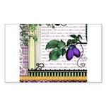 Vintage Plum Fruit Collage Sticker (Rectangle 50 p