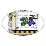 Vintage Plum Fruit Collage Sticker (Oval 50 pk)