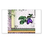 Vintage Plum Fruit Collage Sticker (Rectangle)