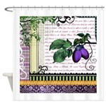 Vintage Plum Fruit Collage Shower Curtain