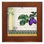 Vintage Plum Fruit Collage Framed Tile