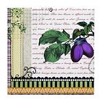 Vintage Plum Fruit Collage Tile Coaster