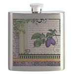 Vintage Plum Fruit Collage Flask