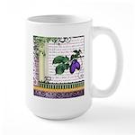 Vintage Plum Fruit Collage Large Mug