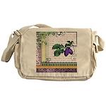 Vintage Plum Fruit Collage Messenger Bag