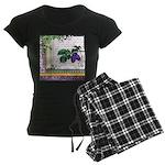 Vintage Plum Fruit Collage Women's Dark Pajamas