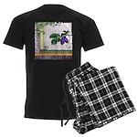 Vintage Plum Fruit Collage Men's Dark Pajamas