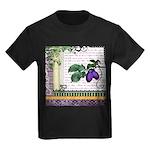 Vintage Plum Fruit Collage Kids Dark T-Shirt