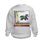 Vintage Plum Fruit Collage Kids Sweatshirt