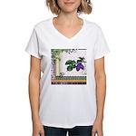 Vintage Plum Fruit Collage Women's V-Neck T-Shirt