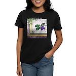Vintage Plum Fruit Collage Women's Dark T-Shirt