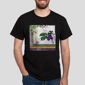 Vintage Plum Fruit Collage Dark T-Shirt