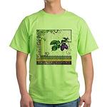 Vintage Plum Fruit Collage Green T-Shirt