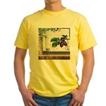 Vintage Plum Fruit Collage Yellow T-Shirt