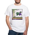 Vintage Plum Fruit Collage White T-Shirt